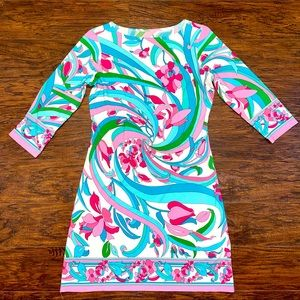 Retro Pink Blue Floral Geometric Silk Tunic Dress